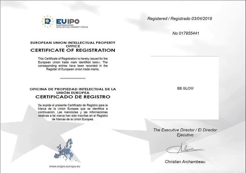 Сертификат за регистрирана търговска марка за ББ Глоу за Европейския съюз